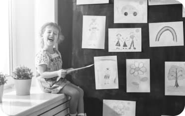 kid playing as a teacher